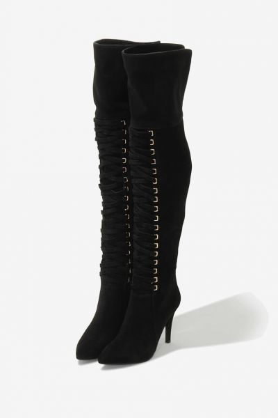 Black Over the Lace Up Boots