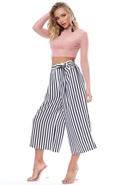Black & White Belted Striped Culotte