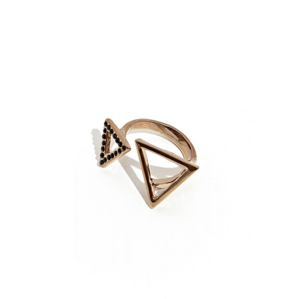 Chocolate Double Triangle Ring