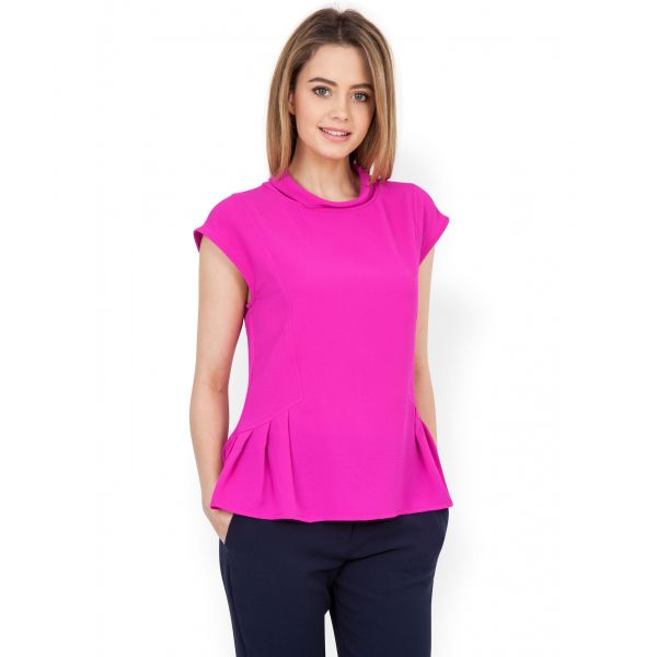 FuschiaHigh Neck Button Back Top