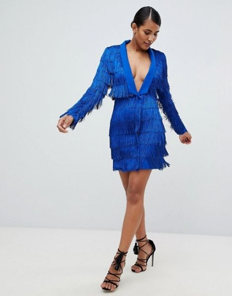Lavish Alice Cobalt Blue Fringed Tailored Dress