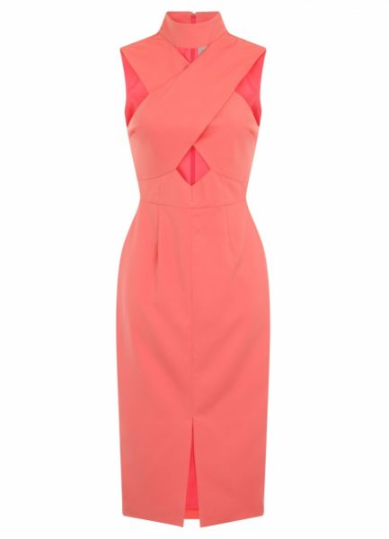 Coral Cut Out Dress