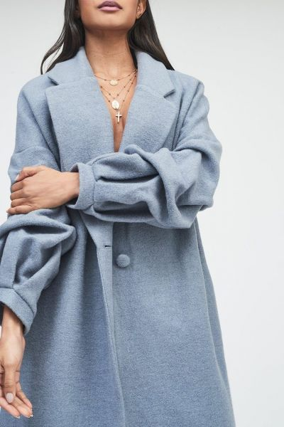 Lavish Alice Gathered Sleeve Wool Coat