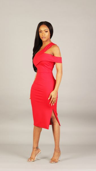 Lavish Alice One Shoulder Red Midi Dress