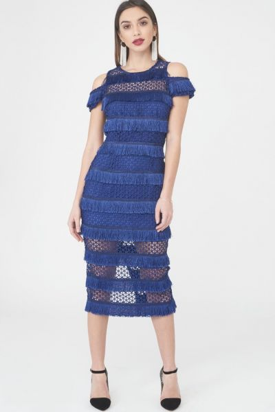 Lavish Alice Royal Blue Lace Fringe Midi Dress