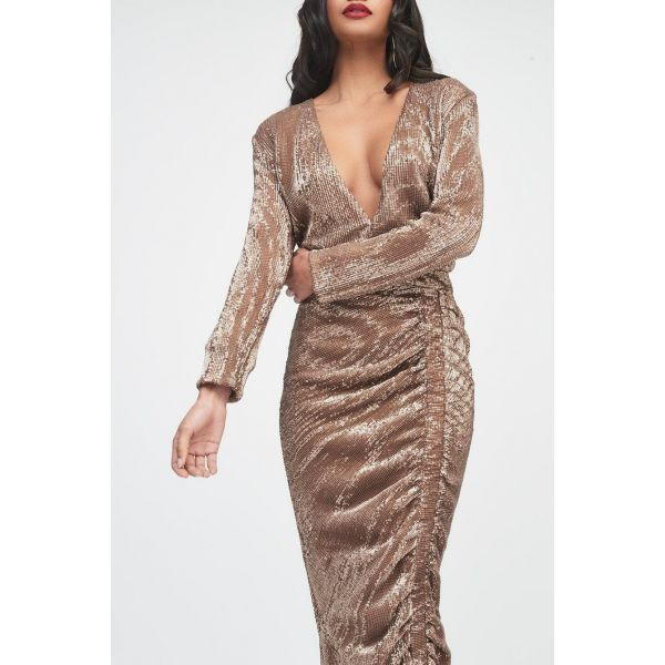 Lavish Alice Gold Sequin Ruched Dress