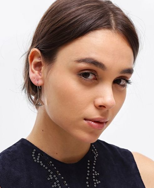 Silver Three Dimensional Triangle Earrings